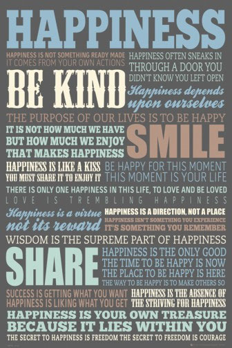 Happiness Quotes op een poster
